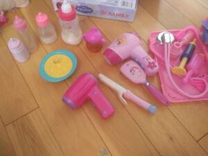 Disney princess hair set, toy baby bottles, Fisher price kit