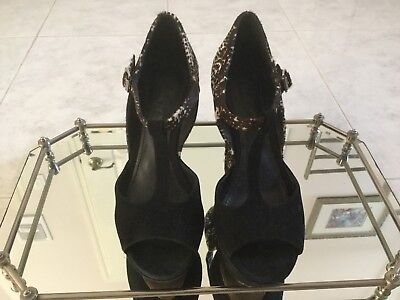 Rachel Zoe Black Leather Wedge Heels Size 36.5 for sale  Miami