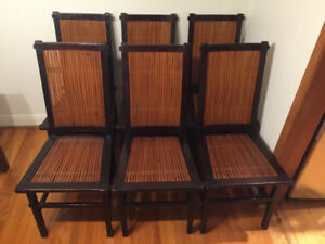 6 PIECE BAMBOO - WOOD DINING CHAIRS