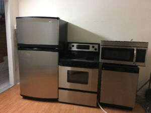 Complete kitchen stainless steel appliances fridge stove washer