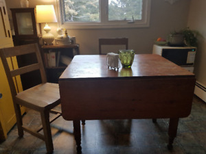 Antique Drop Leaf Table and 2 Chairs (Will sell separately)