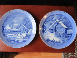 Currier and Ives blue winter plates collection
