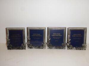 4 IDENTICAL SILVER ROSES & LEAVES DESIGN PHOTO FRAMES - UNUSED