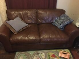 Laura Ashley 'Bradford' brown leather 2 seater sofa