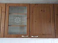 Used B&Q Pine Effect Country Style Kitchen Cabinet Doors with Handles and Hinges