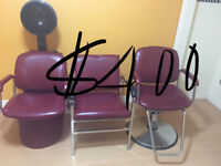 Hairstylist chairs set and sink included