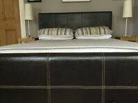 King size leather look bed