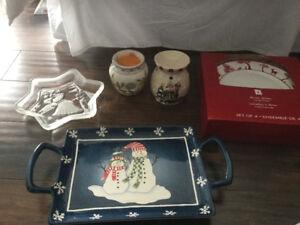 Christmas plates, tray and dish