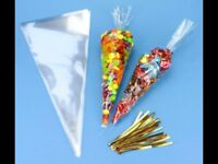 Empty sweet cone bags
