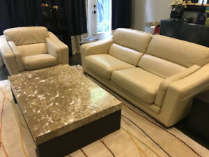Leather sofa , chair & marble table