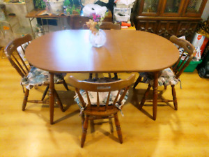 Table with leaf & 4 chairs
