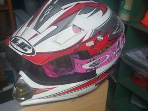 Pink dirt bike helmet