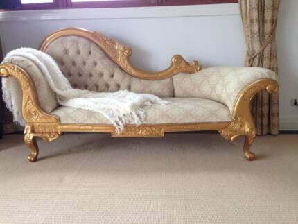 large chaise french victorian gold painted photo leaf bed listings seater lounge day sofa