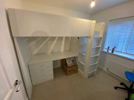 Ikea high sleeper with desk draws and wardrobe