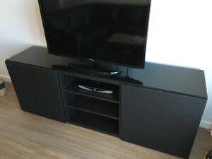 Black Besta Living Room Stand w/ Glass Top
