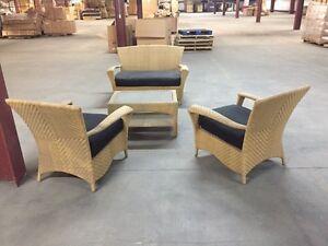 Beige/Black Outdoor Sofa/Divan Set