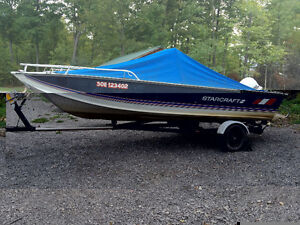 18ft aluminum fishing boat 90 hp Johnston