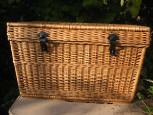 Vintage Natural Wicker Chest with Metal Hardware