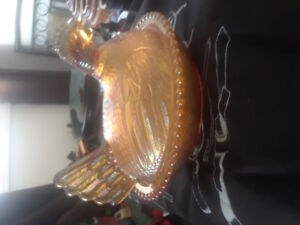 Vintage Amber Glass Chicken Covered Dish