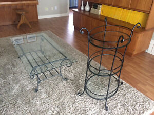 Wrought iron & glass coffee table & display shelf set for sale