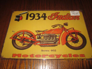 Indian motorcycle, Harley Davidson, Norton, Beer- tin signs