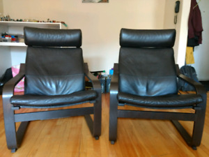 2 Ikea Chairs - Leather