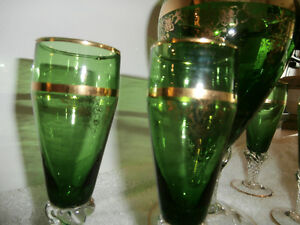 Italian Glass Decanter Set Vintage 6 piece. Green and Gold.