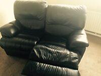Black leather sofa recliner
