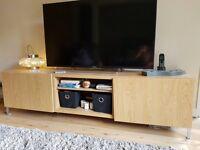 IKEA - TV bench with cupboards - oak effect