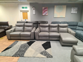Brand new Genuine Leather corner sofa + 2 seater power recliner