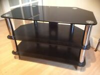 Chrome and black glass tv stand