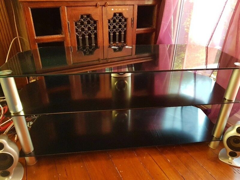 Chrome and Black Glass TV / Stereo unit