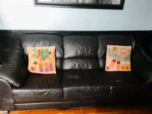 **FREE** Black Leather Couch