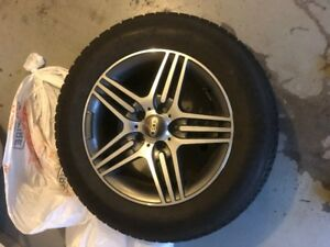 Set of four mounted Uniroyal snow tires and alloy Rims