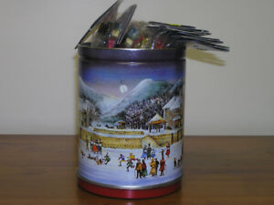 Unused Wooden Painted Christmas Tree Ornaments in Holiday Tin
