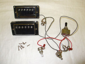 Guitar Chrome Humbuckers with Pots Switch Jack and Fasteners
