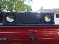 """BASSWORX DUAL 10"""" SUB BOX AND  CLARION SUBS"""