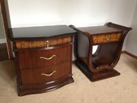 King size sleigh bed head and foot board and 2 night stand set