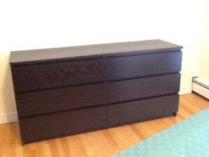 Ikea Malm 6-Drawer dresser in black, Moving sale Like new cond