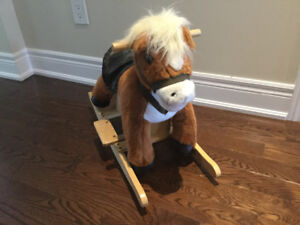 Wooden and soft rocky horse $20