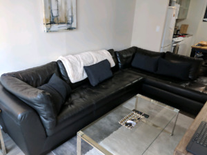 Black Leather Sectional L-shaped Couch