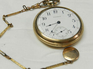 Waltham Traveller Pocket Watch w/chain GOLD Fill and Art Relief