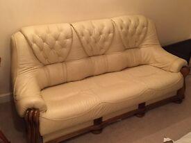 Sofas - 3 piece suite, cream leather