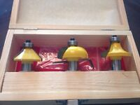 "Carbide router bit set 1/2"" shank"