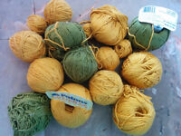 Yarn, 100% cotton green and yellow