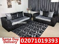 Silver/Black Crushed Velvet 3+2 Sofa--Order Now!