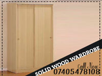 New Solid Wood 2-Door Sliding Wardrobe with Shelves Hanging Rails Drawers in Oak Beech White Colors