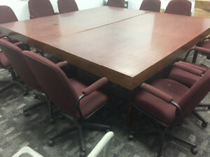 2 Boardroom tables 4x8  / 6 chairs