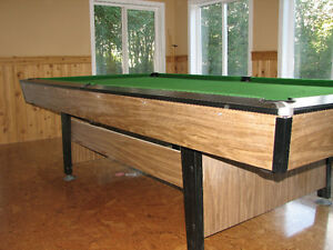 9' Pool Table - OBS 4.5 x 9, Cues, Balls, etc., Pedestal Legs