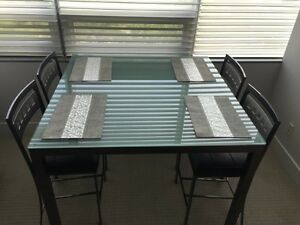 Cool Modern Square Dining  Table with Frosted Glass Top